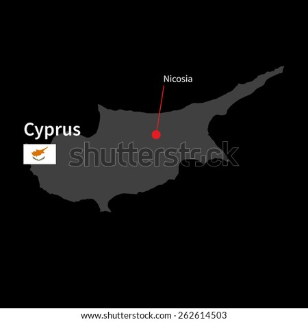 Detailed map of Cyprus and capital city Nicosia with flag on black background - stock vector