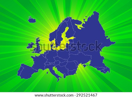 Detailed Map of Europe - Beaming Background - stock vector