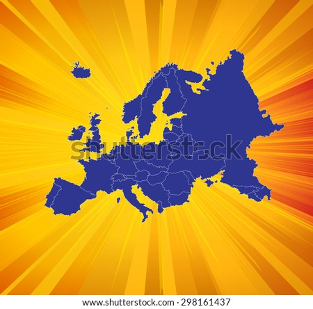 Detailed map of Europe with Impactful Background - stock vector