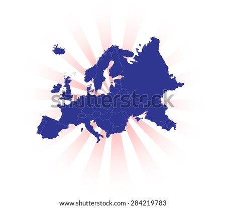 Detailed Map of Europe with Light Background - stock vector
