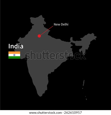 Detailed map of India and capital city New Delhi with flag on black background - stock vector