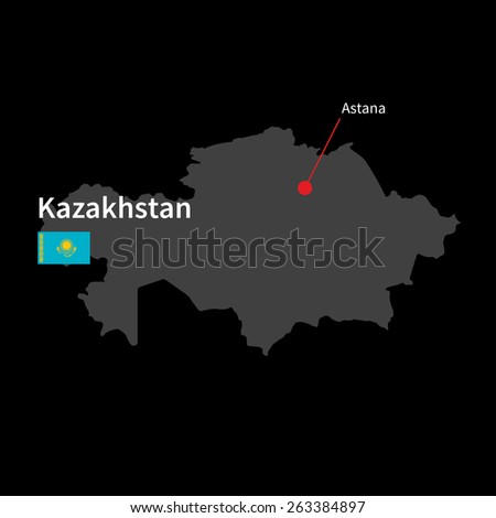 Detailed map of Kazakhstan and capital city Astana with flag on black background - stock vector