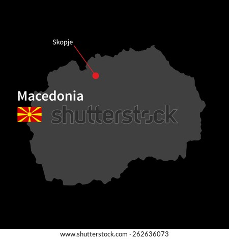 Detailed map of Macedonia and capital city Skopje with flag on black background - stock vector