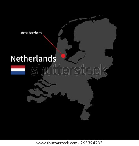 Detailed map of Netherlands and capital city Amsterdam with flag on black background - stock vector
