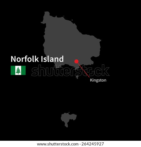 Detailed map of Norfolk Island and capital city Kingston with flag on black background - stock vector