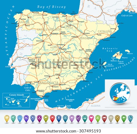 Detailed map of Spain with bubble icons, highways,railways, cities  and rivers/Detailed map of Spain. - stock vector