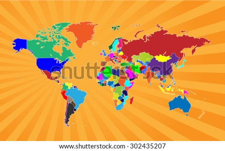 Detailed Map of The World Beaming - stock vector