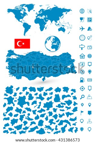 Detailed map of Turkey and World map navigation set. Vector illustration. - stock vector