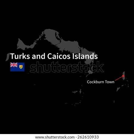Detailed map of Turks and Caicos Islands and capital city Cockburn Town with flag on black background - stock vector
