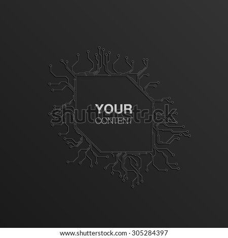 Detailed Printed Circuit Board text box design for your content infographics vector stock eps 10 illustration - stock vector