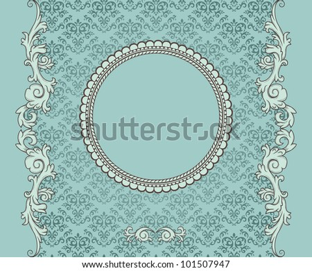 Detailed retro frame on repeating damask wallpaper - stock vector
