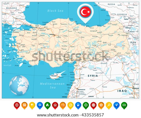 Detailed road vector map of Turkey and colorful map pointers with separated layers. - stock vector