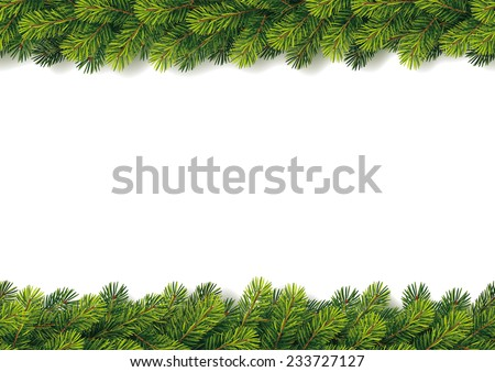 Detailed Seamless Christmas Garland - stock vector