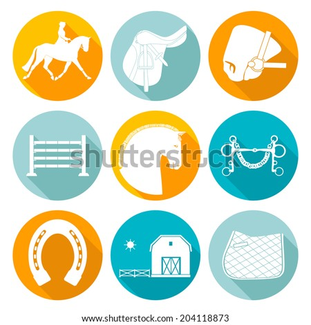 Detailed set of equestrian icons. Modern flat horseriding icons, including saddle, bit, snaffle bit, stable with a fence, horse, horseshoe and an obstacle. - stock vector