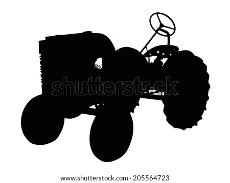 Detailed Silhouette of a Vintage Small Tractor    - stock vector
