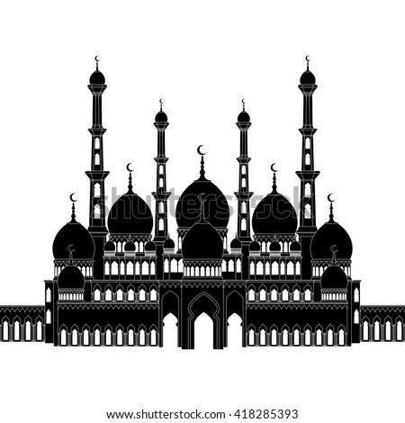 Detailed silhouette of mosque, arabic architecture, EPS 8. - stock vector