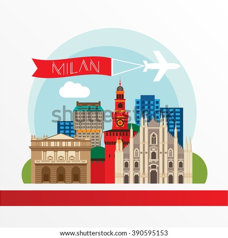 Detailed silhouette. Trendy vector illustration, flat style. Stylish colorful  landmarks. The concept for a web banner. Milan Cathedral and La Scala - The symbol of Milan, Italy - stock vector