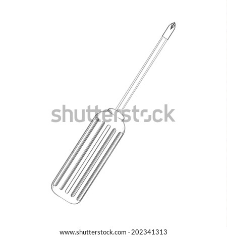 Detailed sketch vector screwdriver. Illustration. EPS10 vector - stock vector