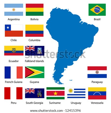 Detailed South American flags and map manually traced from public domain data. - stock vector