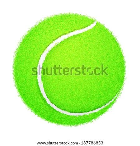 Detailed Tennis Ball on White Background - stock vector