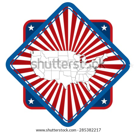 Detailed United States Map Icon - stock vector