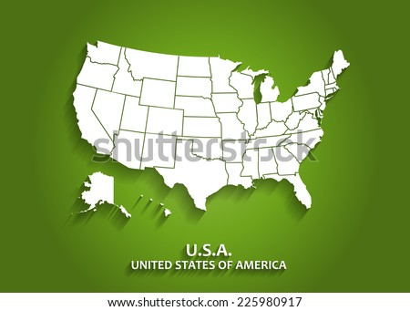 Detailed USA Map on Green Background with Shadows (EPS10 Vector) - stock vector
