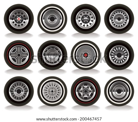 Detailed vector drawing of a variety of retro wheels. - stock vector