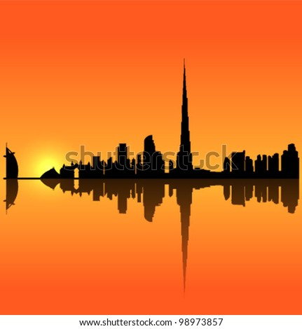 Detailed vector Dubai silhouette skyline - stock vector