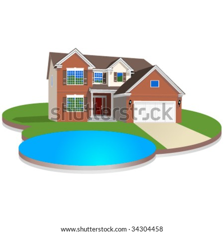 Detailed vector house with lawn ans pool - stock vector