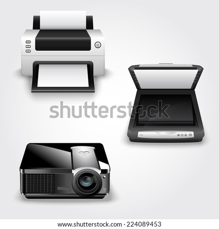 Detailed vector illustration of abstract office equipment - printer, scanner and projector - stock vector