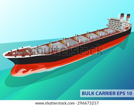 Detailed vector illustration of realistic bulk carrier in the ocean. Vector image can be used for web design, modern infographics and other crafts. - stock vector