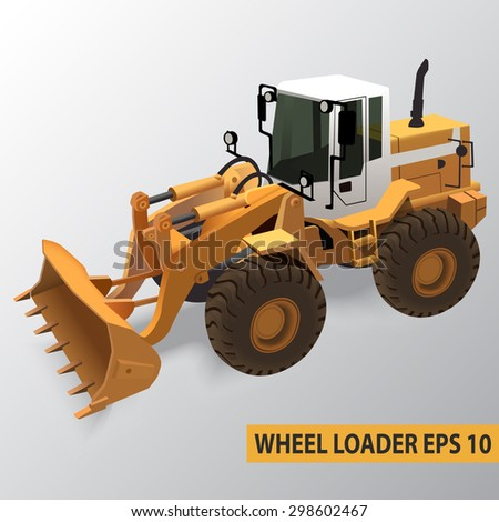 Detailed vector illustration of  wheel loader. Can be used for create infographic illustrations and other. - stock vector