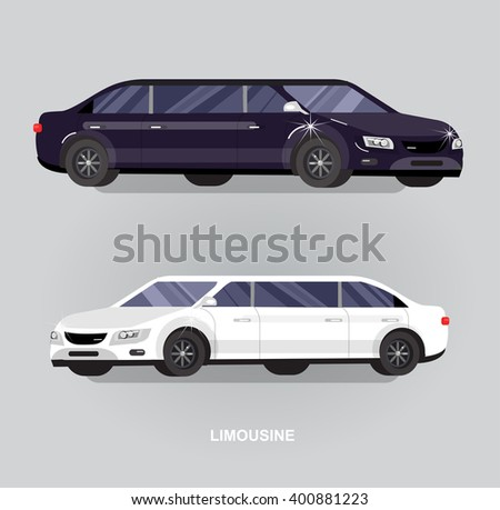 detailed vector luxury limousine car white and black - stock vector