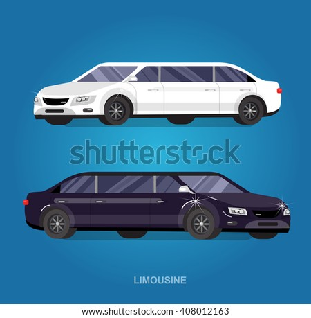 detailed vector luxury limousine car white and  limousine black. Vector limousine. Illustration  limousine detailed vector luxury limousine car white and  limousine black. Vector limousine - stock vector