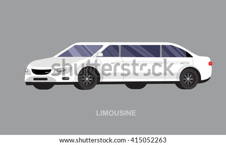 detailed vector luxury limousine car white . Vector limousine. Illustration  limousine - stock vector