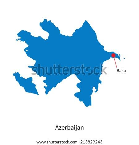 Detailed vector map of Azerbaijan and capital city Baku - stock vector