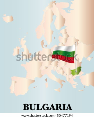 detailed vector map of bulgaria / and europe - stock vector
