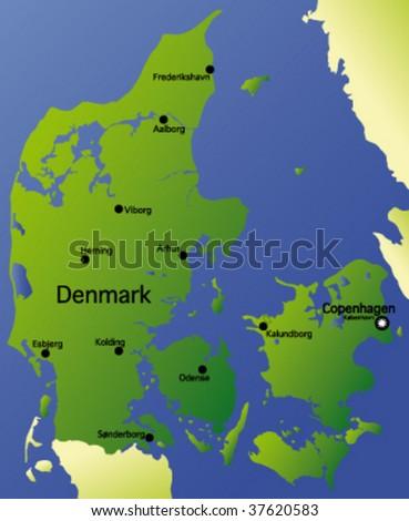detailed vector map of denmark - stock vector