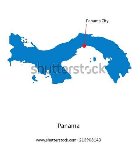 Detailed vector map of Panama and capital city Panama City - stock vector