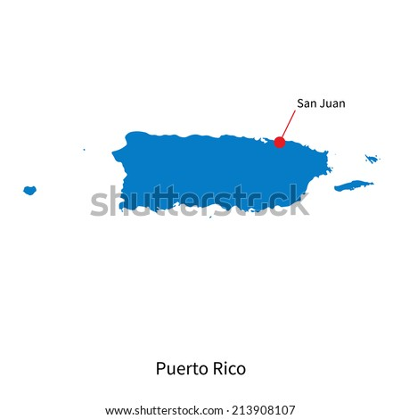 Detailed vector map of Puerto Rico and capital city San Juan - stock vector