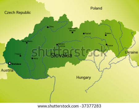 detailed vector map of slovakia - stock vector