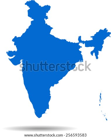 Detailed vector map of the India - stock vector