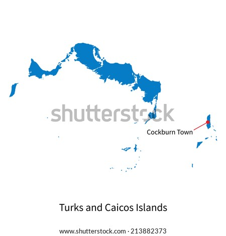 Detailed vector map of Turks and Caicos Islands and capital city Cockburn Town - stock vector