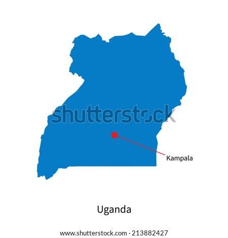 Detailed vector map of Uganda and capital city Kampala - stock vector