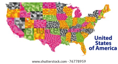 detailed vector map of USA with ALL counties - stock vector