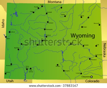 detailed vector map of wyoming state, usa - stock vector
