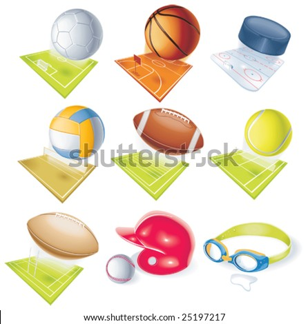 Detailed vector sport icons - stock vector