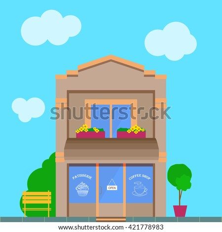 Detailed vintage, old city cartoon building with coffee shop store front. Flat vector illustration patisserie facade - stock vector