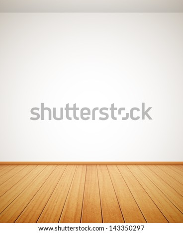 detailed wood floor and white wall eps10 - stock vector