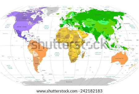 Detailed World Map - stock vector